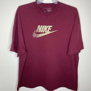 SOLD Mens 3XL Maroon Spellout Swoosh Logo Shirt